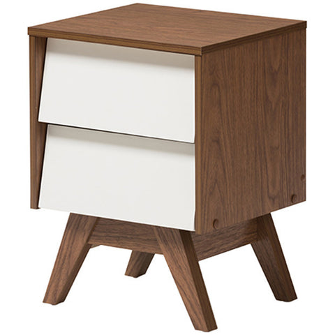 Hildon Mid-Century Modern White and Walnut 2-Drawer Storage Nightstand