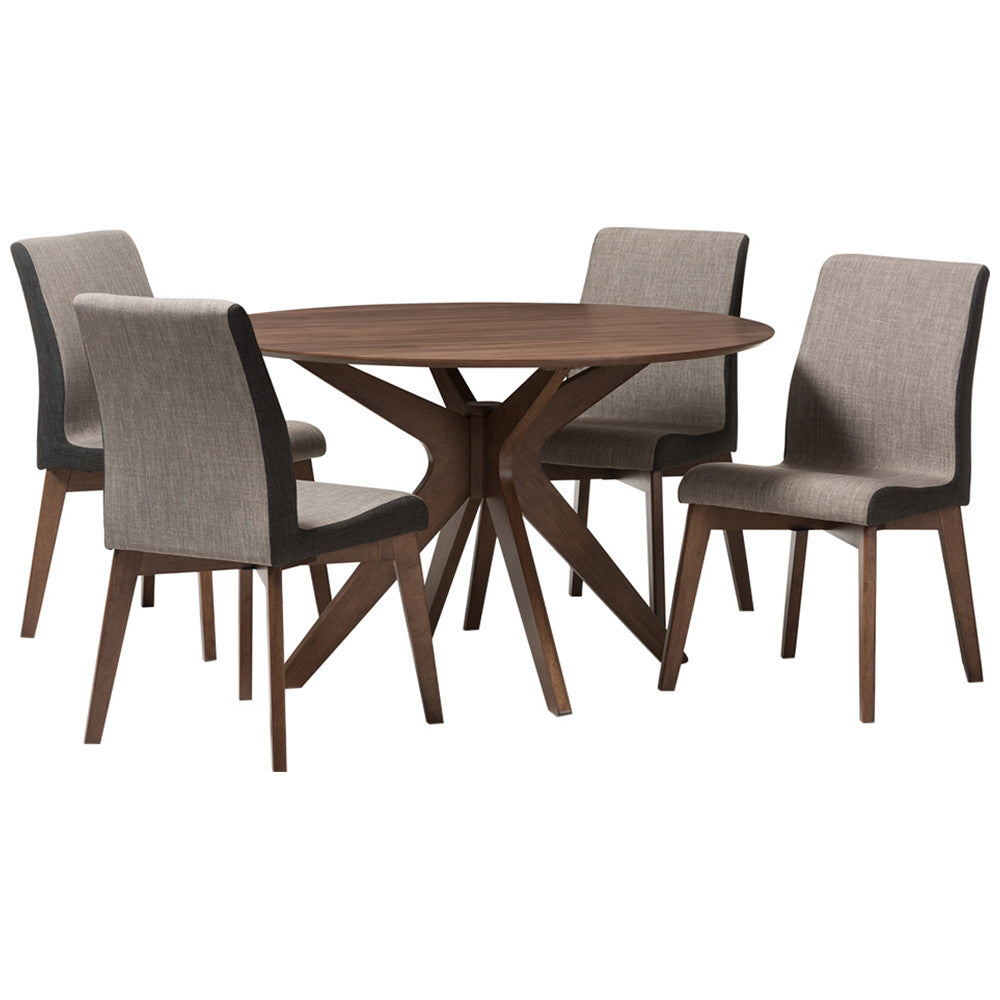 Kimberly 5-Piece Round Dining Set in Walnut Wood