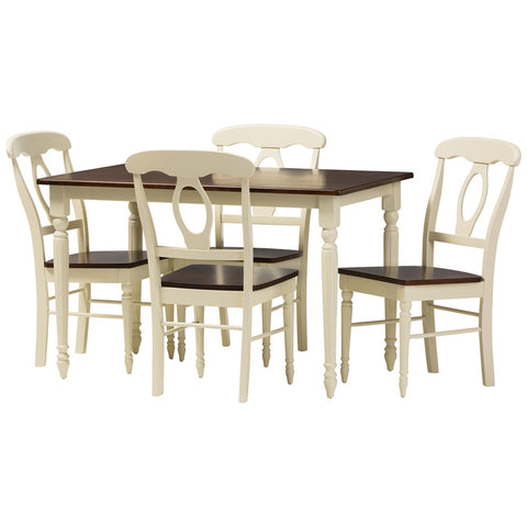 Baxton Studio Napoleon Buttermilk and Cherry Brown 5-Piece Dining Set