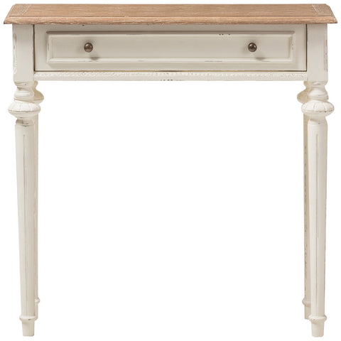 Baxton Studio Marquetterie Console Table in Weathered Oak and White Wash