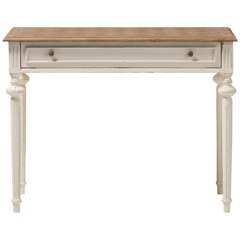 Marquetterie Writing Desk in Weathered Oak and Whitewash