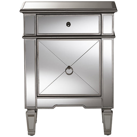 Claudia Hollywood Regency Glamour Style Mirrored Nightstand