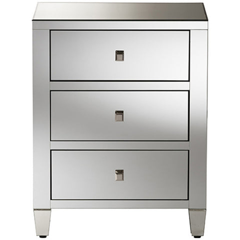 Baxton Studio Rosalind Hollywood Regency Mirrored 3-Drawer Nightstand, Set of 2