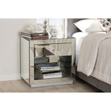 Baxton Studio Melanie Hollywood Mirrored 1-Drawer 1-Shelf Nightstand, Set of 2