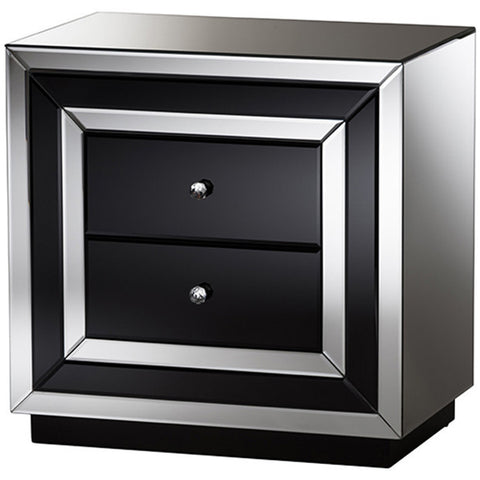Cecilia Hollywood Regency Glamour Style Mirrored 2-Drawer Nightstand