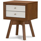 Baxton Studio Warwick Two-tone Walnut and White Accent Table and Nightstand