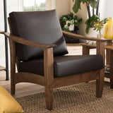 Baxton Studio Pierce Walnut Brown and Dark Brown 1-Seater Lounge Chair