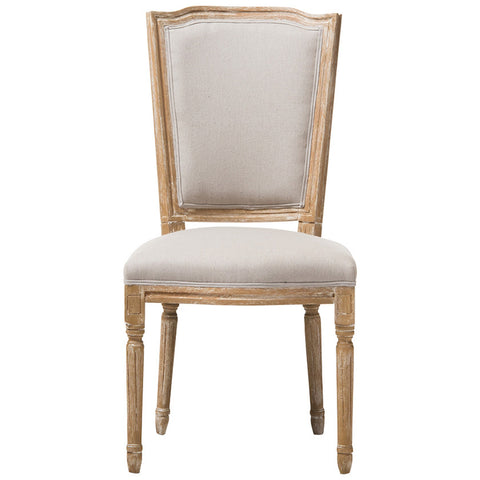 Baxton Studio Cadencia Dining Side Chair in Weathered Oak and Beige