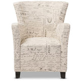 Benson French Script Patterned Fabric Club Chair and Ottoman Set