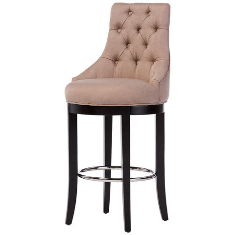Harmony Button-Tufted Beige Fabric Upholstered Bar Stool with Metal Footrest