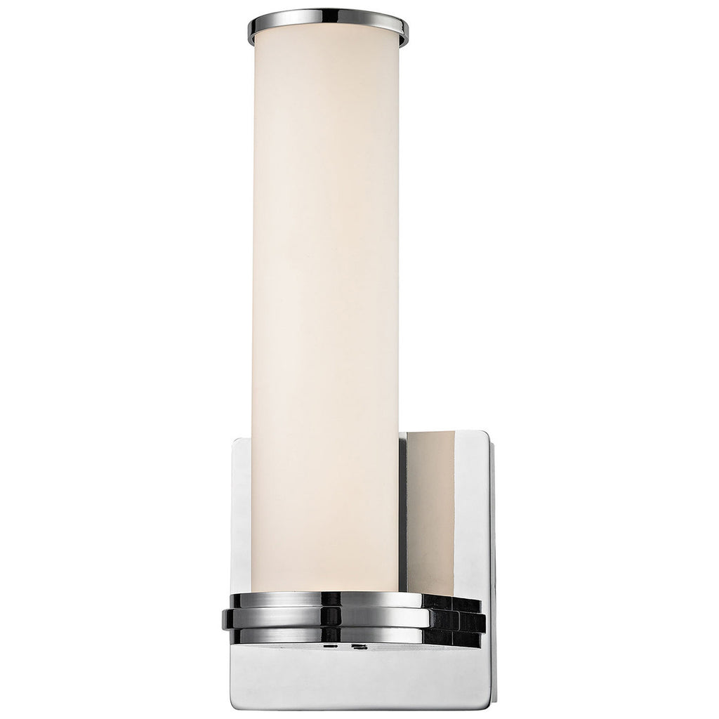 Baton 1-Light LED Wall Sconce in Chrome and White Opal Glass