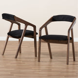 "Baxton Studio Wendy Black Velvet and ""Oak"" Medium Brown Dining Chair, Set of 2"