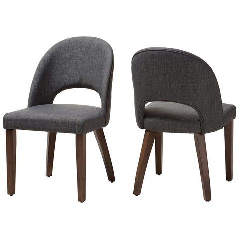 Baxton Studio Wesley Fabric Upholstered Walnut Wood Dining Chair Set of 2