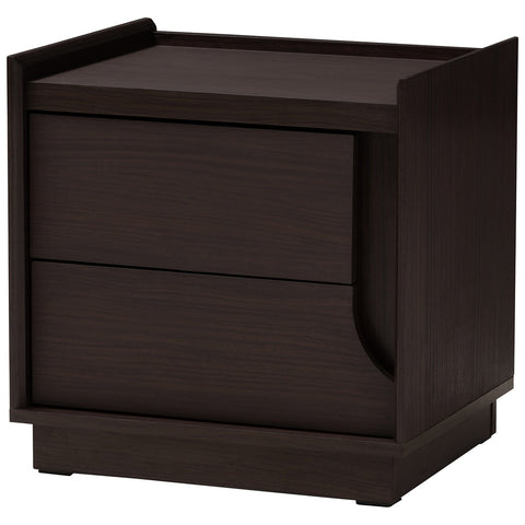 Baxton Studio Larsine Modern and Contemporary Brown Finished 2-Drawer Nightstand