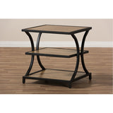 Baxton Studio Lancashire Oak Brown Wood and Black Metal End Table