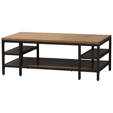 Baxton Studio Caribou Oak Brown Wood and Black Metal Coffee Table