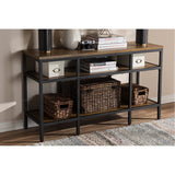 Baxton Studio Caribou Oak Brown Wood and Black Metal Console Table