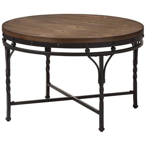 Baxton Studio Austin Antique Bronze Round Coffee Cocktail Occasional Table