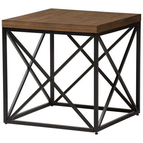 Baxton Studio Holden Vintage Industrial Antique Bronze End Table