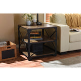 Baxton Studio Milo Antique Bronze Metal and Distressed Wood End Table
