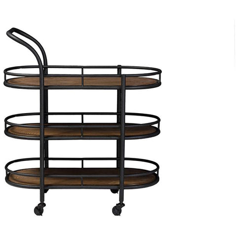 Karlin Antique Black Metal Distressed Wood Mobile Kitchen Bar Serving Wine Cart