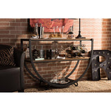 Blakes Rustic Industrial Style Antique Black Metal Distressed Wood Console Table