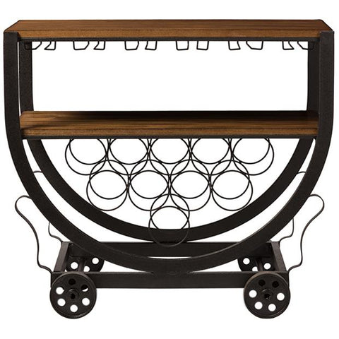 Triesta Antiqued Vintage Industrial Metal and Wood Wheeled Wine Rack Cart