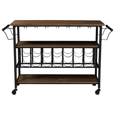 Bradford Antique Black Metal Distressed Mobile Kitchen Bar Serving Wine Cart