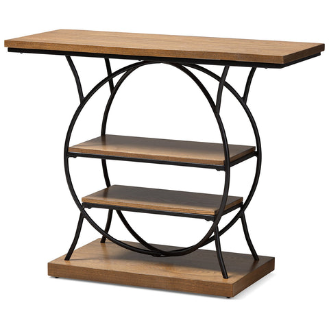 Baxton Studio Lavelle Walnut Brown and Dark Bronze Metal Circular Console Table