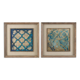 Stained Glass Indigo Art, Set of 2