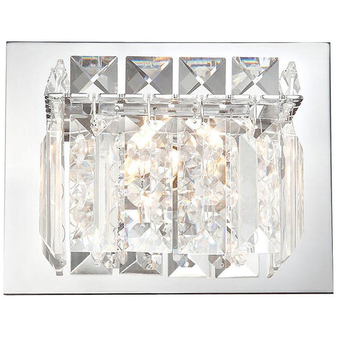 Crown 1-Light Vanity in Chrome and Clear Crystal Glass