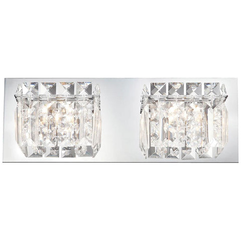 Crown 2-Light Vanity in Chrome and Clear Crystal Glass