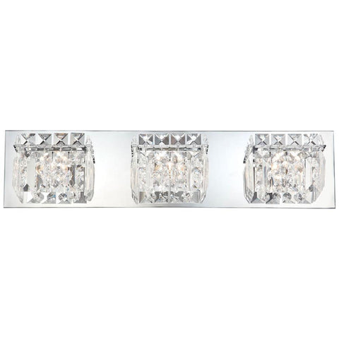 Crown 3-Light Vanity in Chrome and Clear Crystal Glass