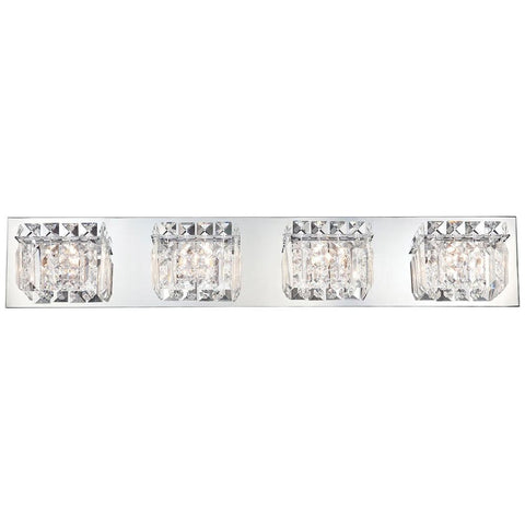 Crown 4-Light Vanity in Chrome and Clear Crystal Glass