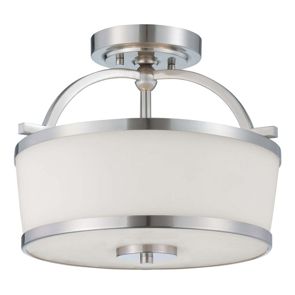 Hagen 2-Light Satin Nickel Semi-Flush