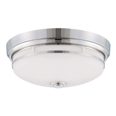 2-Light Polished Nickel Flush Mount
