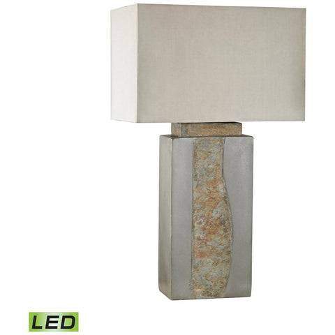 Musee Outdoor LED Table Lamp in Grey and Natural Slate