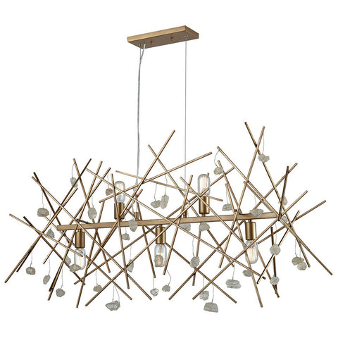 Massive Impact 5-Light Linear Chandelier in Antique Gold