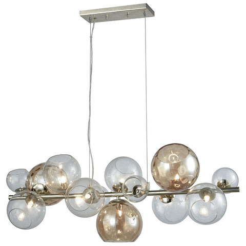 Bubble 9-Light Linear Chandelier in Silver Leaf