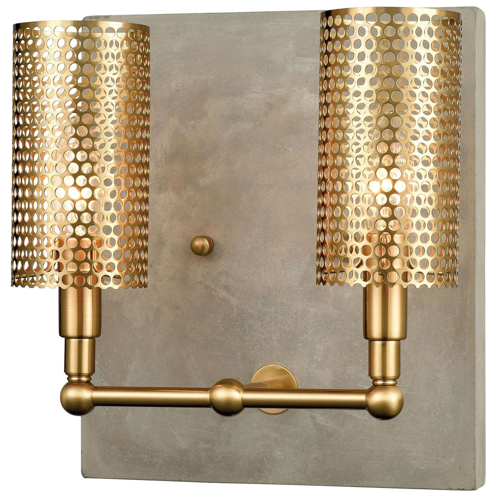 Fuego wall sconce in concrete and new aged brass