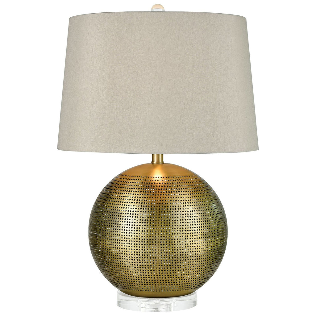 Punkture Table Lamp in Weathered Antique Brass and Clear