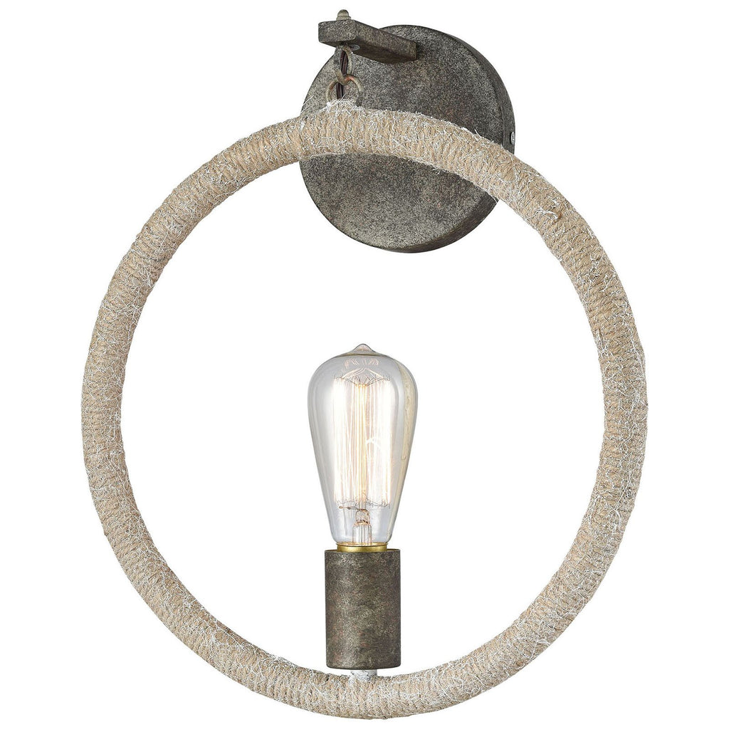 Lasso Wall Sconce in Grey Rope and Grey Brown Rust