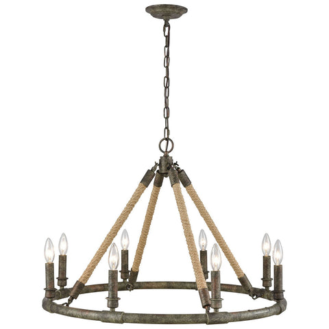Big Sugar Chandelier in Brown Grey Rust and Grey Washed Wood