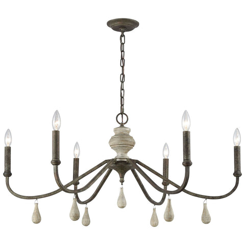 French Connection Chandelier in Malted Rust and Gray Wood