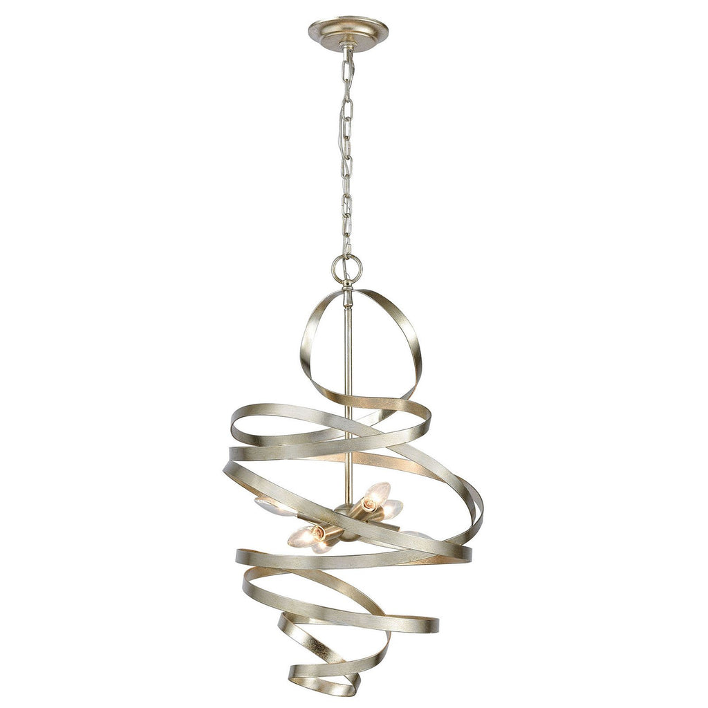 Gliss Chandelier in Silver Leaf