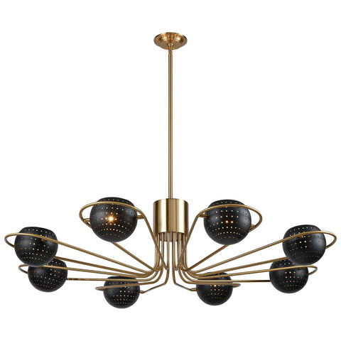 Scarab Chandelier in New Aged Brass and Semi-Gloss Black