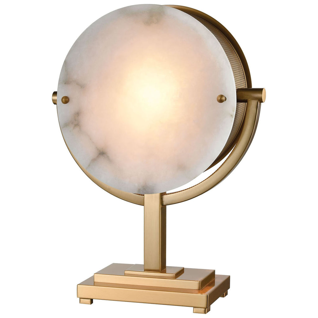 Sunset Boulevard Table Lamp in Cafe Bronze and Natural Alabaster