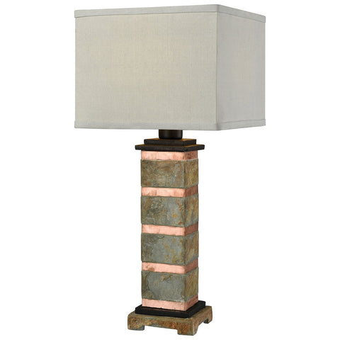 Controlled Burn Table Lamp in Natural Slate and Copper