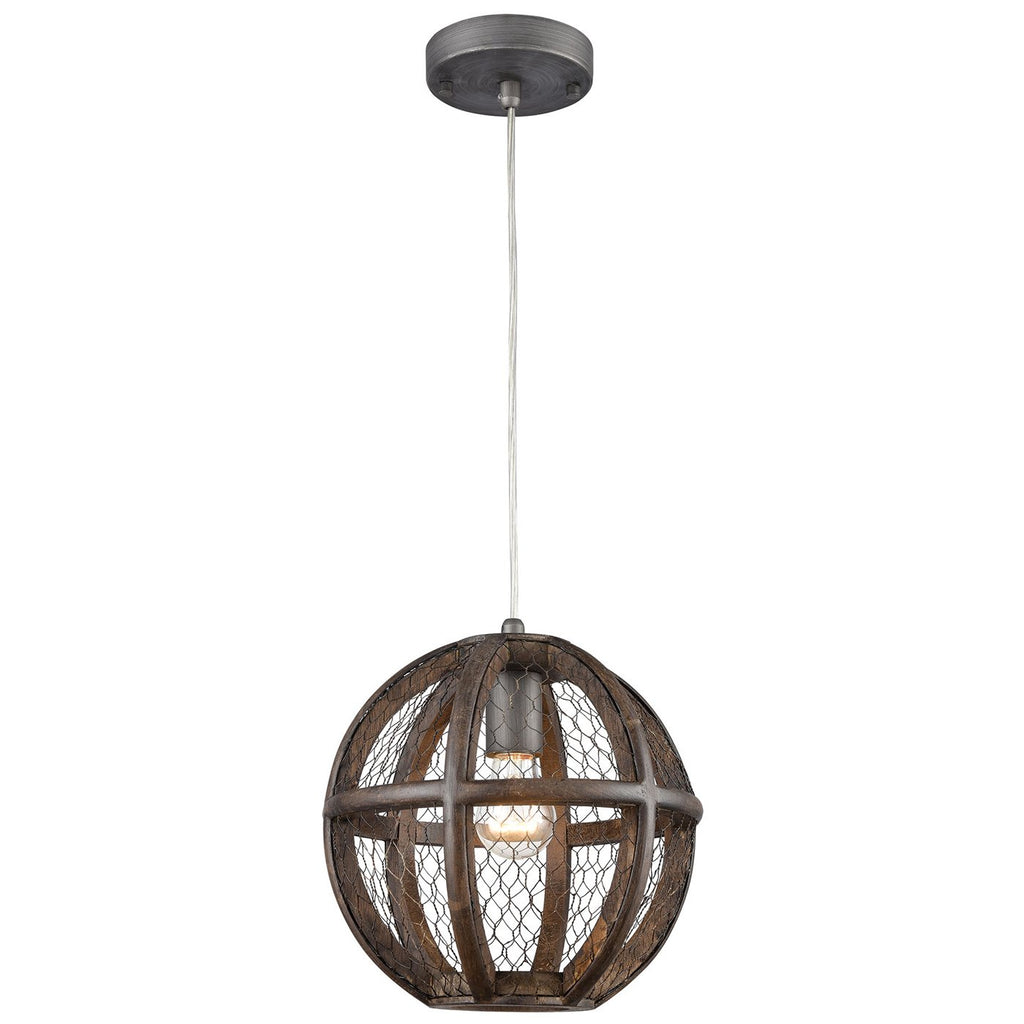 Renaissance Invention 1-Light Mini Pendant in Aged Wood and Wire - Round