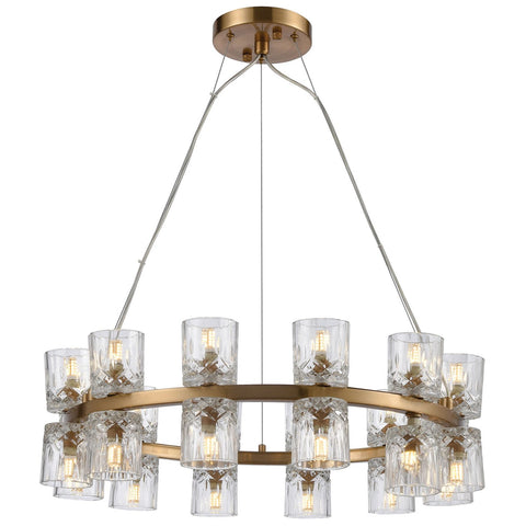 Double Vision 24-Light Chandelier in Clear and Satin Brass
